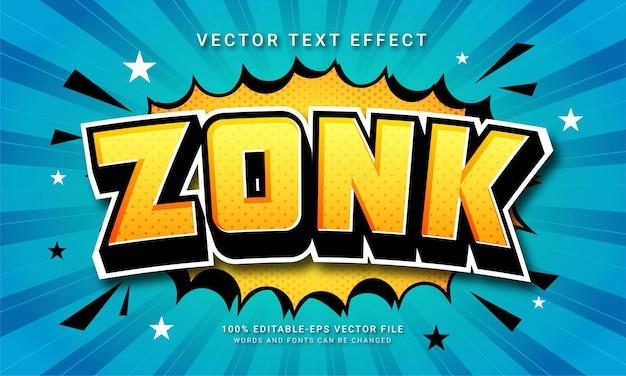 Zonk 3d efekt stylu tekstu w stylu kreskówek