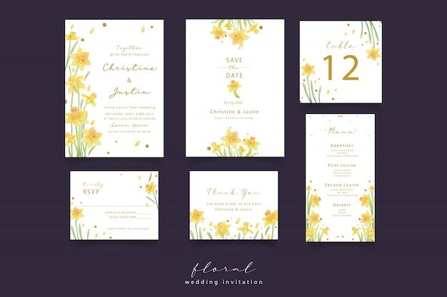 Żonkil kwiaty zaproszenia ślubne akwarela