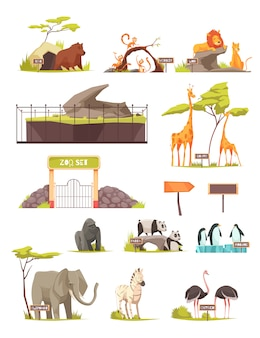 Zoo animals cartoon icon set collection