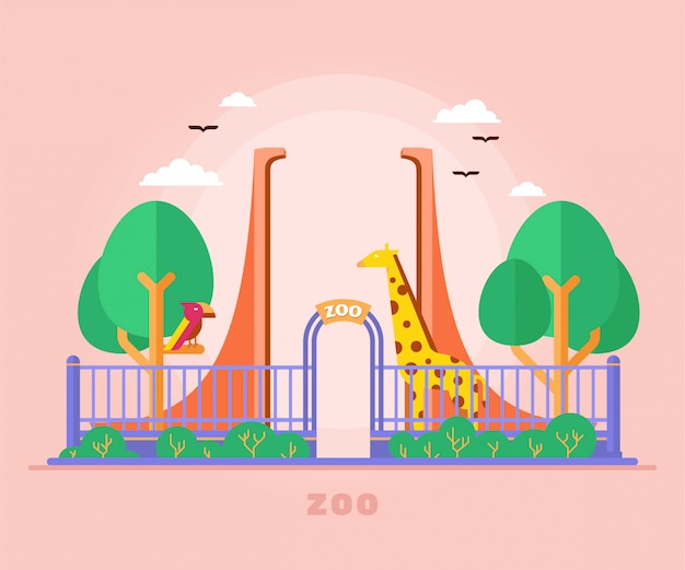 Zoo animals gate entrance gate with bird and giraffe