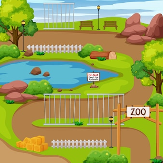 Zoo park z drzewem i stawem