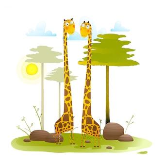 Zoo przyjazne żyrafom afrykańskie z drzewami natury krajobraz dla dzieci