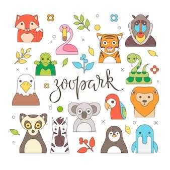Zoo zwierzęta portret z płaska konstrukcja