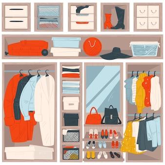 Zorganizowana odzież na wieszakach i półkach, szafa z ubraniami i akcesoriami. lustro z torebkami i butami. garderoba lub salon z bagażem, bluzami i spodniami, wektor w stylu płaskim