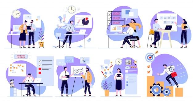 Zorganizowana praca biurowa. planowanie zadań, zarządzanie czasem i produktywność pracy. zadania termin harmonogram płaski zestaw ilustracji. organizacja przepływu pracy w biurze. efektywny proces pracy zespołowej