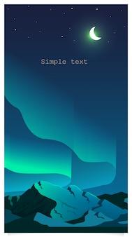 Zorza polarna zjawiska koloru płaski tło z miejsca na tekst