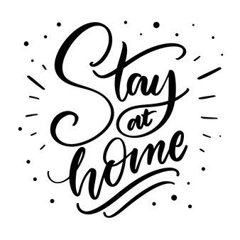 Zostaję w domu z napisem