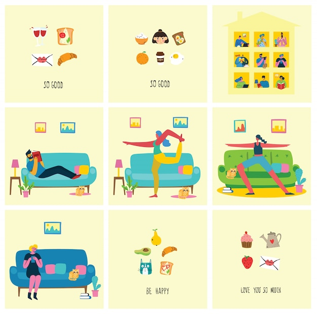 Zostań i pracuj w domu. osoby przebywające w domu w celu zapobiegania wirusowi covid19 w nowoczesnym stylu mieszkania