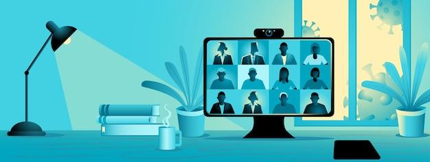 Zostań i pracuj z domu podczas pandemii, ilustracja wideo konferencji. ekran komputera, grupa ludzi rozmawiających przez internet