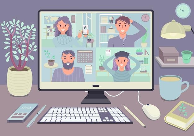 Zostań i pracuj z koncepcją spotkania wideokonferencji w domu