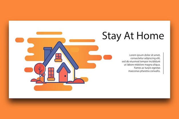 Zostań szablon ilustracji w domu.