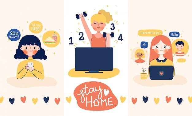 Zostań w domu, bądź bezpieczny. działanie kwarantanny do nowej normy.
