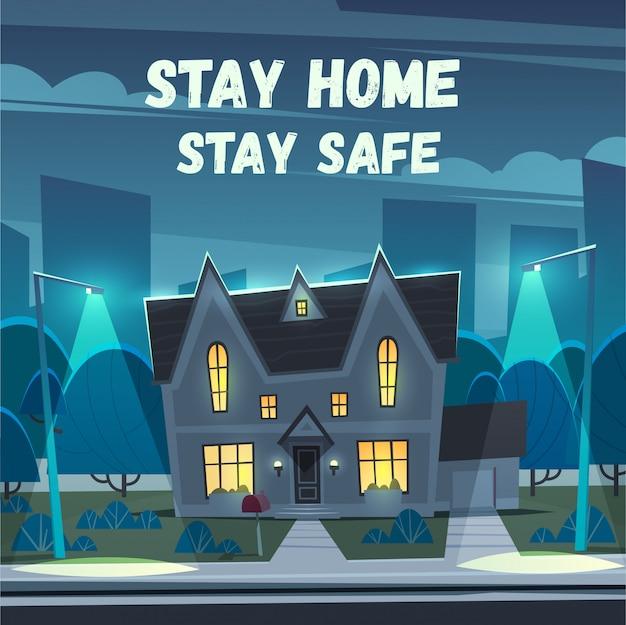 Zostań w domu. bądź bezpieczny. ilustracja na temat: samoizolacja, koronawirus, kwarantanna, epidemia, covid-19.