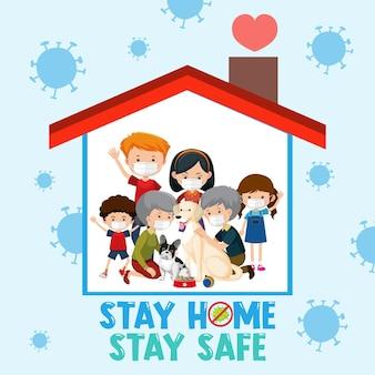Zostań w domu bezpieczną czcionką ze szczęśliwą rodziną
