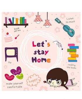 Zostań w domu doodle ilustracji