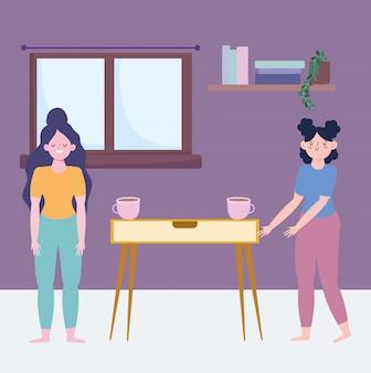 Zostań w domu, dziewczyny z filiżankami kawy w pokoju kreskówki, gotowanie