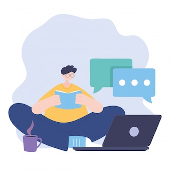 Zostań w domu, facet czytający książkę z laptopem i filiżanką kawy, samowyizolacja, działania w kwarantannie dla koronawirusa