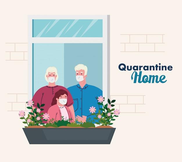 Zostań w domu, fasada domu z oknem, dziadkowie z wnuczką wychodzą z domu, samoizolacja, kwarantanna z powodu koronawirusa, covid 19