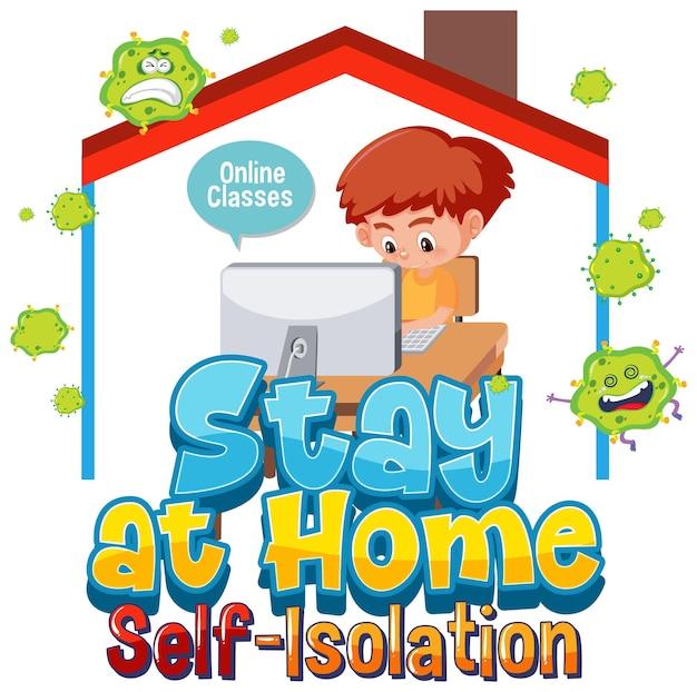 Zostań w domu i baner samoizolacji z postacią z kreskówek, pracuj z domu