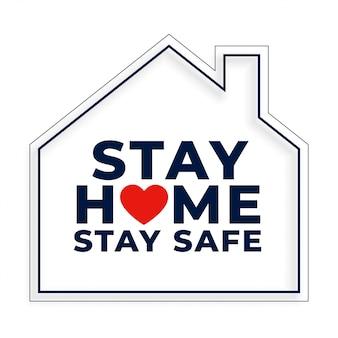 Zostań w domu i bezpieczne tło z symbolem domu