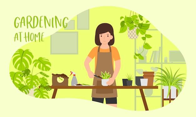 Zostań w domu i ogrodnictwo w domu ilustracja koncepcja, kobiece sadzenie w ogrodzie domu