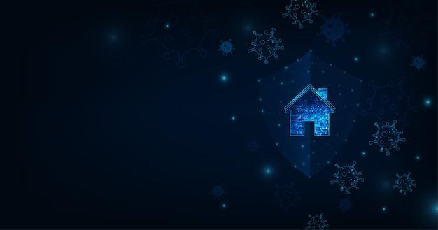Zostań w domu ilustracja epidemii koronawirusa dla mediów społecznościowych. kampania lub środek ochronny przed koronawirusem, covid-19. dom z wirusem na ciemnym niebieskim tle koloru.