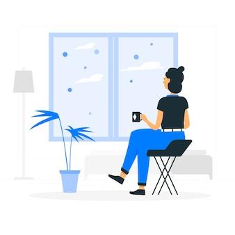 Zostań w domu ilustracja koncepcja