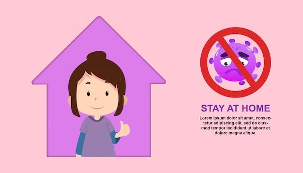 Zostań w domu ilustracja z charakterem dzieci