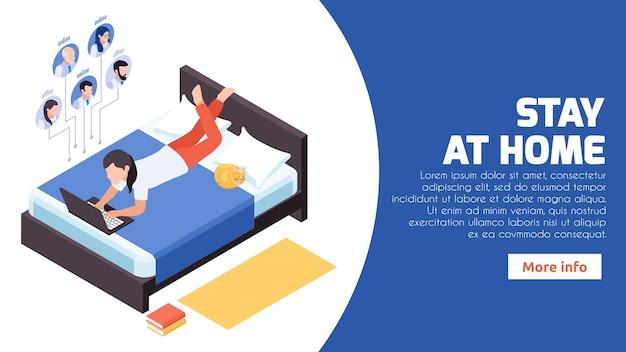Zostań w domu izometryczny baner pracy na odległość