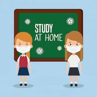 Zostań w domu kampania z dziewczynami uczniami za pomocą maski twarzowej ilustracyjnym projektem