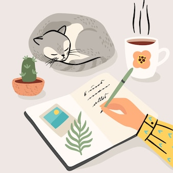 Zostań w domu. kobieta pisze pamiętnik w domu. ilustracja.