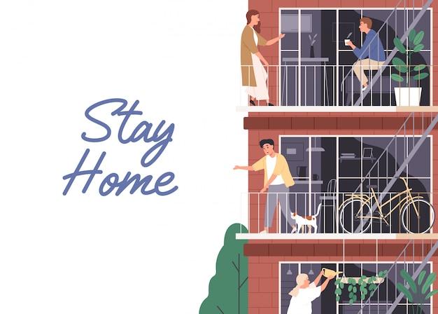 Zostań w domu, koncepcja izolacji. poziomy baner z miejscem na tekst.