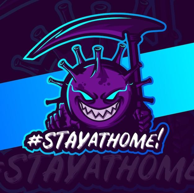 Zostań w domu, koronawirus 19 lub logo esport maskotki covid-19