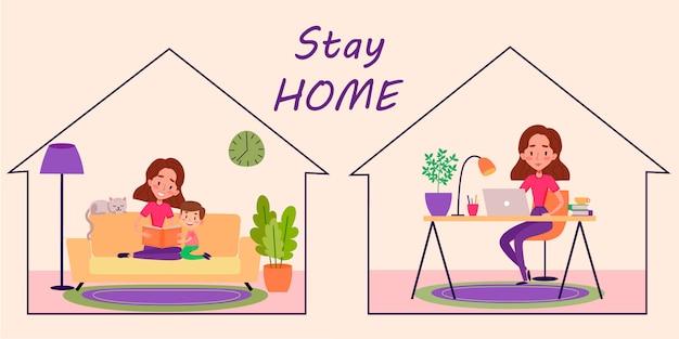Zostań w domu kwarantanny kolorowa ilustracja. kobieta zostaje w domu i czyta książkę z synem na kanapie. ona pracuje z domu przy biurku z notatnikiem.
