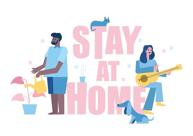Zostań w domu. ludzie lubią aktywność domową. grając na gitarze, dbaj o rośliny. koncepcja kwarantanny domowej. ilustracja