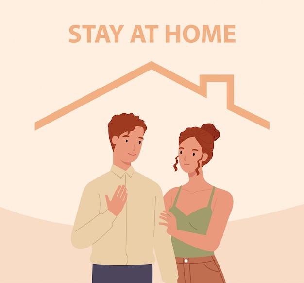 Zostań w domu. mężczyzna i kobieta w domu. koncepcja kontroli choroby w 2019-ncov. ilustracja w stylu płaskiej