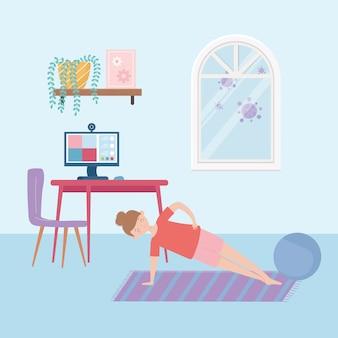 Zostań w domu, młoda kobieta ćwiczy ćwiczenia i komputer w pokoju