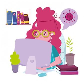 Zostań w domu, młoda kobieta z laptopem i słuchawkami w zapobieganiu kwarantannie w pokoju, covid 19