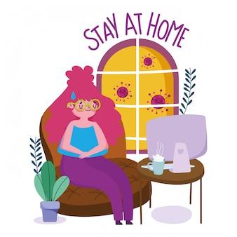 Zostań w domu, młoda kobieto z zapobieganiem kwarantannie telepracy, covid 19