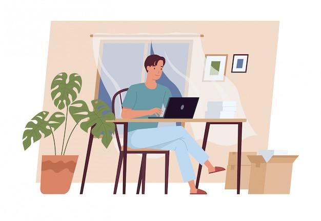 Zostań w domu. młody człowiek pracuje na laptopie w domu. niezależny, praca w domu, praca zdalna i biuro domowe. ilustracja wektorowa w stylu płaski