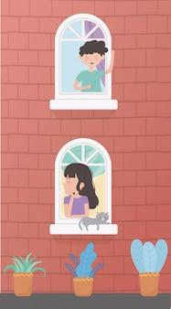 Zostań w domu, młodzi ludzie z kotem w budynku na ścianie okna