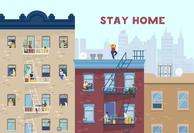 Zostań w domu motywacyjny baner. ludzie w oknach przebywający w domu z powodu kwarantanny, pracy, nauki, gry na gitarze, ćwiczeń, gotowania, czytania. domy murowane z przodu. ilustracja.