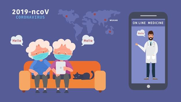 Zostań w domu para starszych znajdź wiedzę w internecie zmniejsz ryzyko infekcji