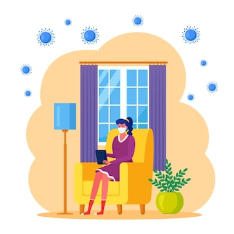 Zostań w domu podczas pandemii koronawirusa. freelancer pracuje w biurze domowym. kwarantanna, koncepcja okresu izolacji. kobieta siedzi w fotelu z laptopem. dziewczyna w masce medycznej. płaska konstrukcja