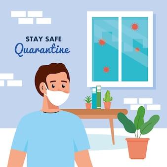 Zostań w domu, poddaj kwarantannie lub izoluj się, mężczyzna noszący maskę medyczną w domu, zachowaj bezpieczną koncepcję kwarantanny.