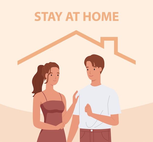 Zostań w domu. potomstwo para ono uśmiecha się i zostaje wpólnie. koncepcja kontroli choroby w 2019-ncov. ilustracja w stylu płaskiej