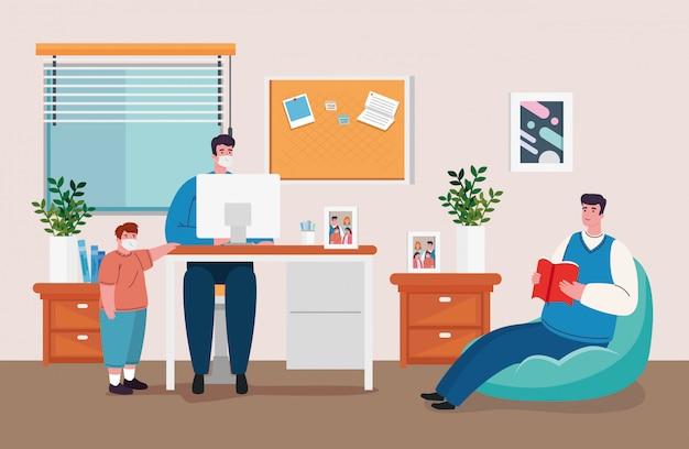 Zostań w domu, pracuj w domu, chroń się, zachowuj dystans, aby zapobiec infekcji, pozostań w domu podczas kwarantanny podczas koronawirusa