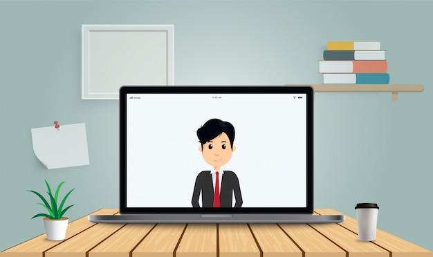 Zostań w domu, pracując z domu. biznes człowiek rozmawia przez konferencję ivideo. transmisja strumieniowa, rozmowy internetowe, spotkania z przyjaciółmi online. koronawirus, izolacja kwarantannowa.