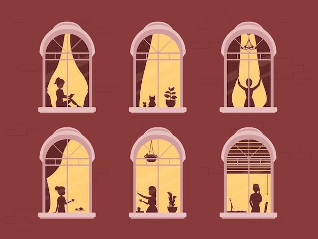 Zostań w domu, projekt koncepcyjny. różne typy ludzi, rodziny, sąsiadów we własnych domach. ilustracja scena domu wieczorem, sylwetka lub cień ludzi w oknie