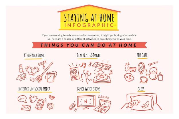 Zostań w domu styl infografikę